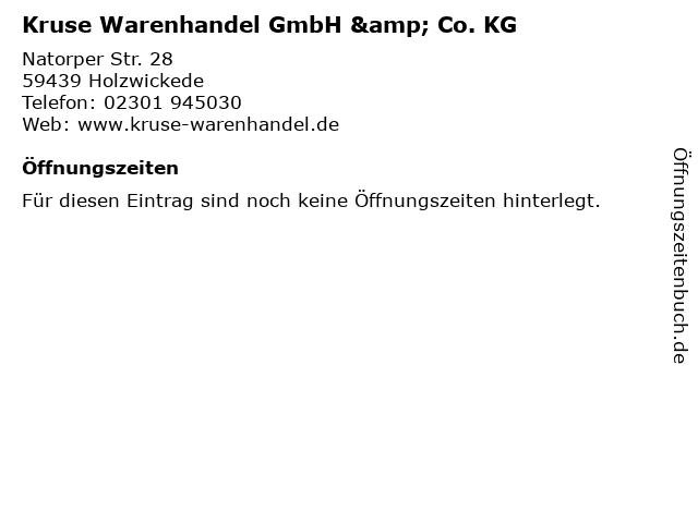 Kruse Warenhandel GmbH & Co. KG in Holzwickede: Adresse und Öffnungszeiten