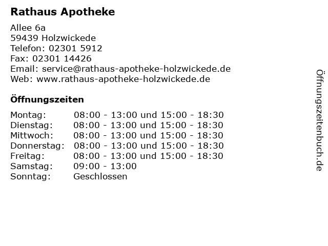 Rathaus Apotheke in Holzwickede: Adresse und Öffnungszeiten