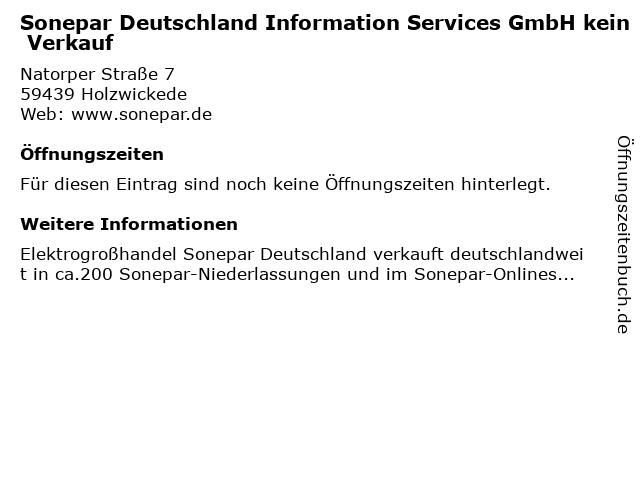 Sonepar Deutschland Information Services GmbH kein Verkauf in Holzwickede: Adresse und Öffnungszeiten