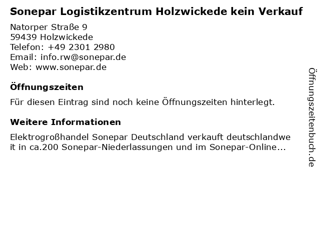 Sonepar Logistikzentrum Holzwickede kein Verkauf in Holzwickede: Adresse und Öffnungszeiten