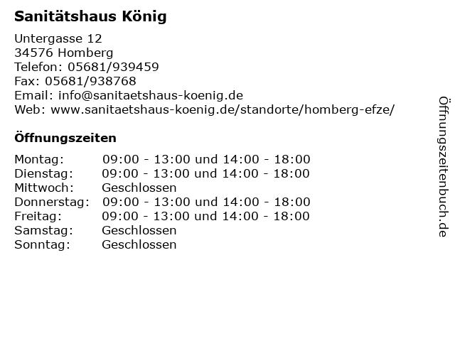 Sanitätshaus König in Homberg: Adresse und Öffnungszeiten