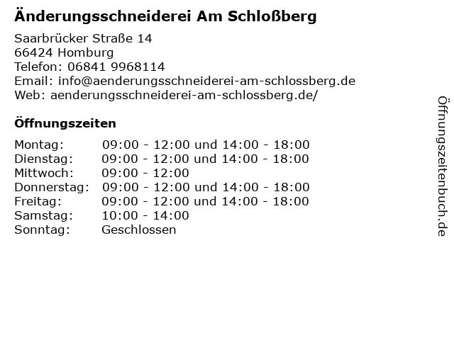 Änderungsschneiderei Am Schloßberg in Homburg: Adresse und Öffnungszeiten