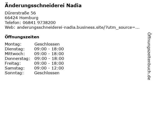 Änderungsschneiderei Nadia in Homburg: Adresse und Öffnungszeiten