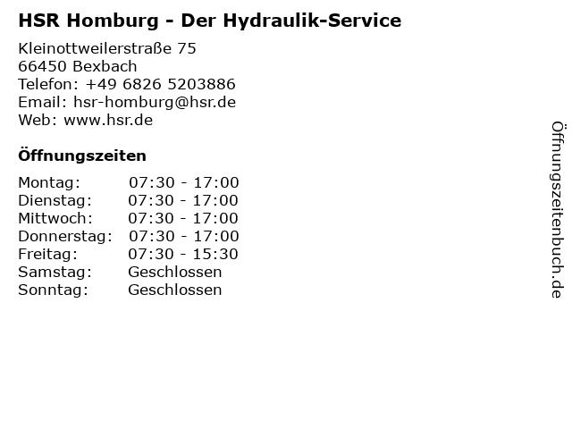 HSR Der Hydraulik-Service in Homburg: Adresse und Öffnungszeiten