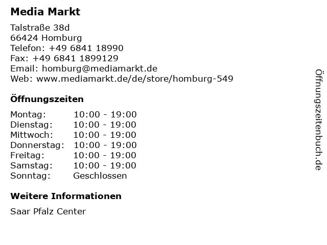 Media Markt Homburg in Homburg: Adresse und Öffnungszeiten