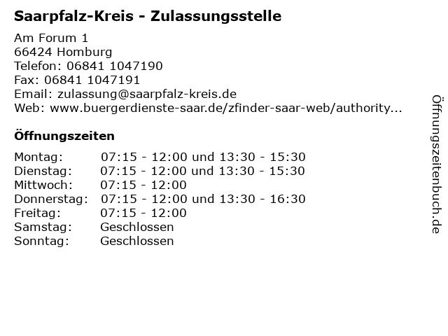 Saarpfalz-Kreis - Zulassungsstelle in Homburg: Adresse und Öffnungszeiten