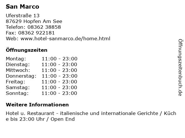 San Marco in Hopfen Am See: Adresse und Öffnungszeiten