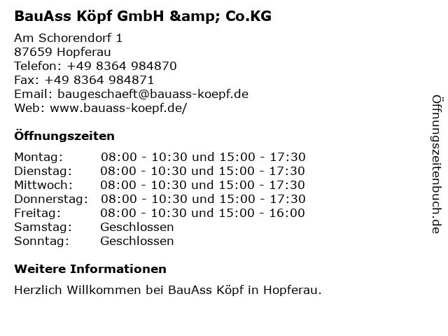 BauAss Köpf GmbH & Co.KG in Hopferau: Adresse und Öffnungszeiten
