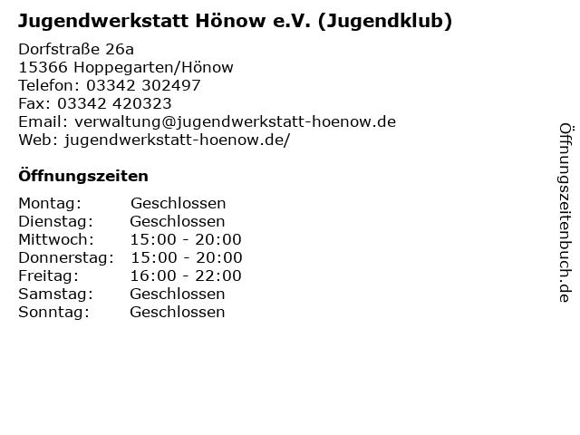 Jugendwerkstatt Hönow e.V. (Jugendklub) in Hoppegarten/Hönow: Adresse und Öffnungszeiten
