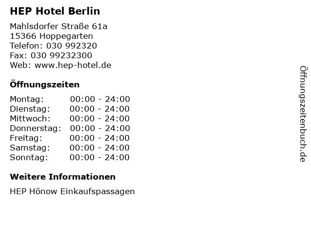 HEP Hotel Berlin in Hoppegarten: Adresse und Öffnungszeiten