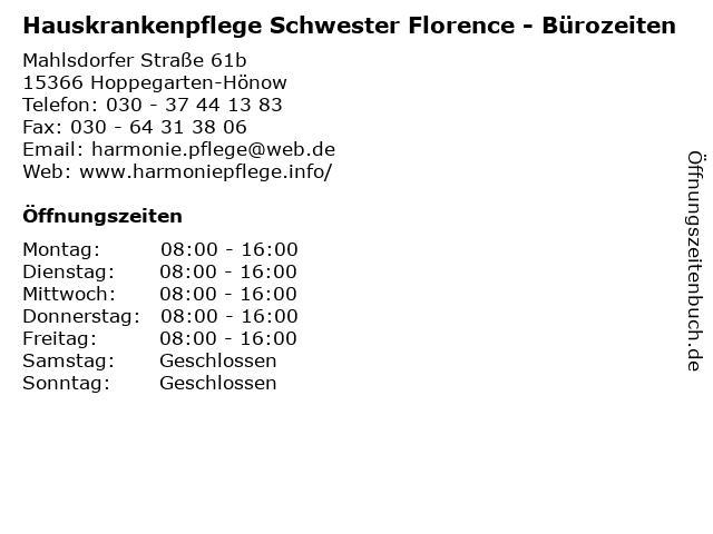Hauskrankenpflege Schwester Florence - Bürozeiten in Hoppegarten-Hönow: Adresse und Öffnungszeiten
