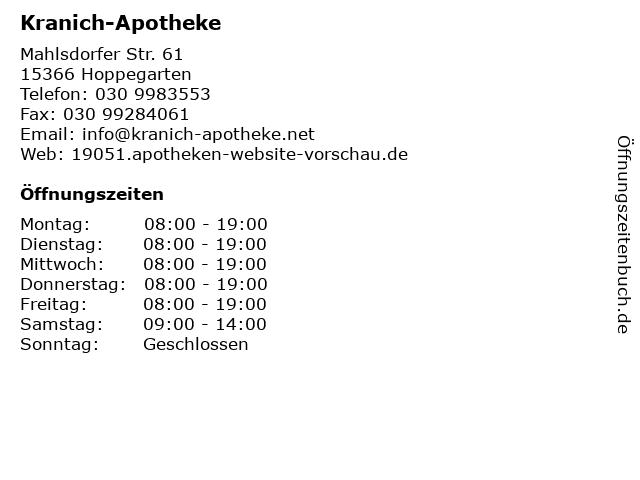 Kranich-Apotheke in Hoppegarten: Adresse und Öffnungszeiten