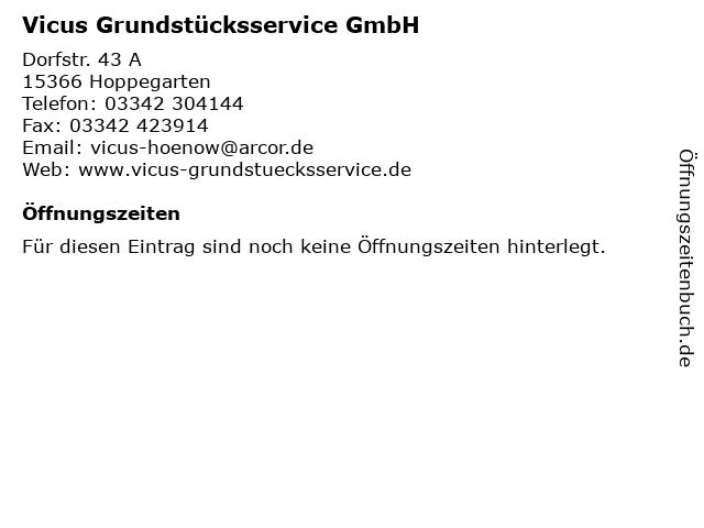 Vicus Grundstücksservice GmbH in Hoppegarten: Adresse und Öffnungszeiten