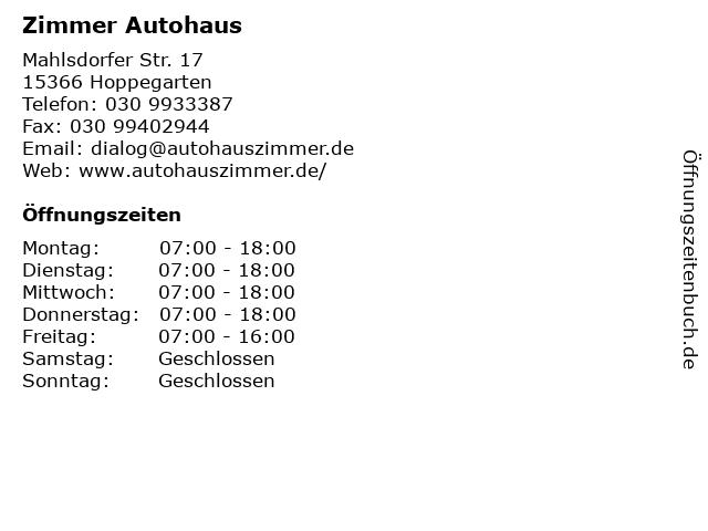 Zimmer Autohaus in Hoppegarten: Adresse und Öffnungszeiten