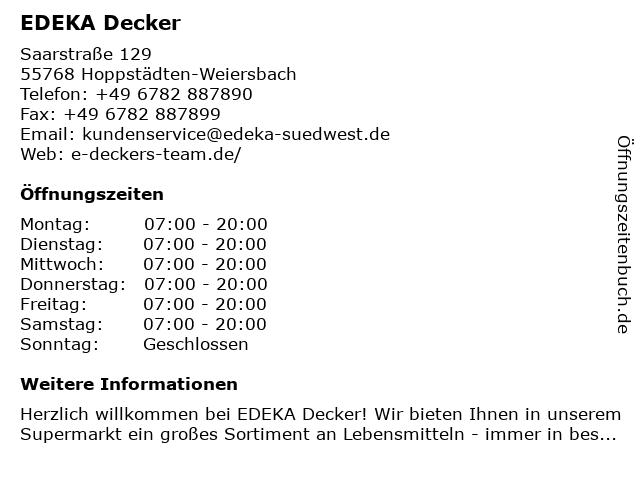 EDEKA Decker in Hoppstädten-Weiersbach: Adresse und Öffnungszeiten