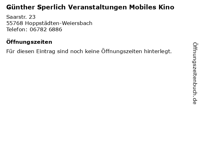 ᐅ öffnungszeiten Günther Sperlich Veranstaltungen Mobiles Kino