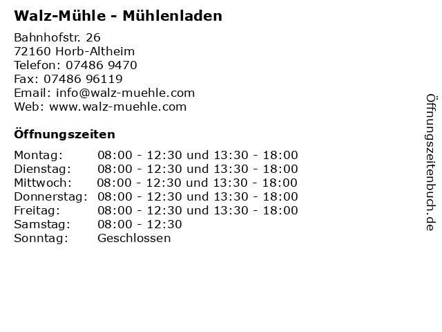 Walz-Mühle - Mühlenladen in Horb-Altheim: Adresse und Öffnungszeiten