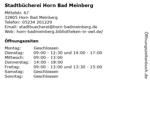 Stadtbücherei Horn Bad Meinberg in Horn Bad Meinberg: Adresse und Öffnungszeiten