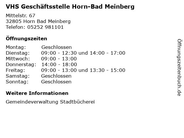 VHS Geschäftsstelle Horn-Bad Meinberg in Horn Bad Meinberg: Adresse und Öffnungszeiten