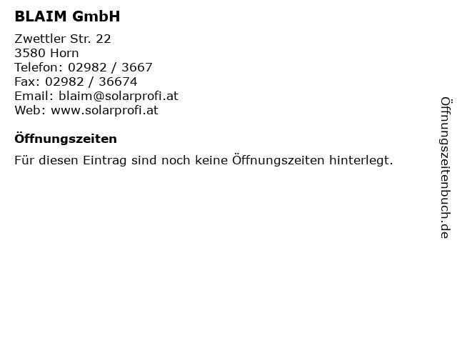 BLAIM GmbH in Horn: Adresse und Öffnungszeiten