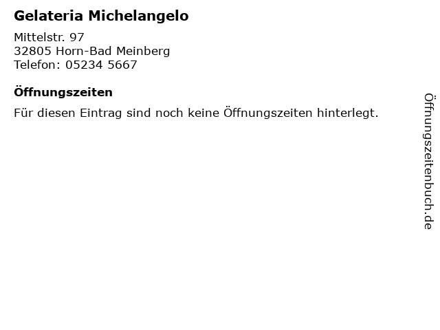Gelateria Michelangelo in Horn-Bad Meinberg: Adresse und Öffnungszeiten