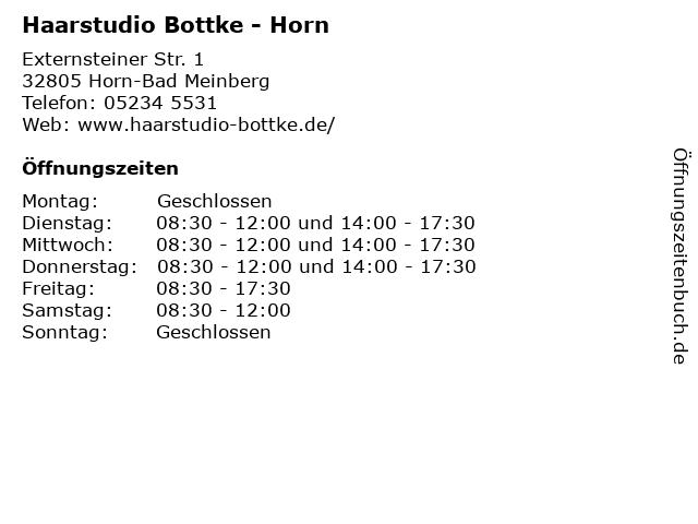 Haarstudio Bottke - Horn in Horn-Bad Meinberg: Adresse und Öffnungszeiten