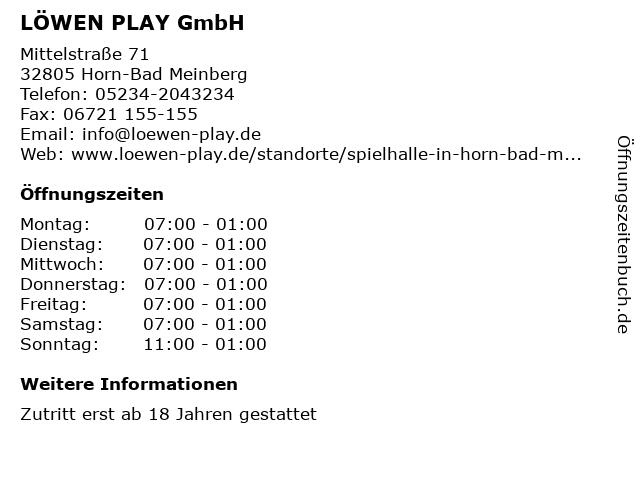 LÖWEN PLAY GmbH in Horn-Bad Meinberg: Adresse und Öffnungszeiten
