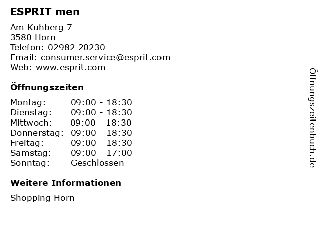 ESPRIT men in Horn: Adresse und Öffnungszeiten