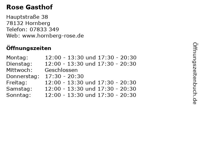 Rose Gasthof in Hornberg: Adresse und Öffnungszeiten