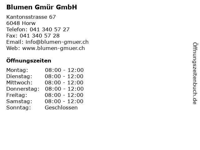 Blumen Gmür GmbH in Horw: Adresse und Öffnungszeiten