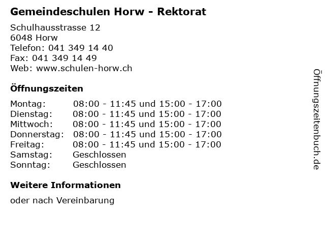 Gemeindeschulen Horw - Rektorat in Horw: Adresse und Öffnungszeiten