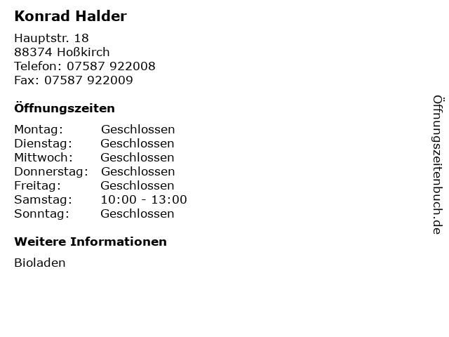 Konrad Halder in Hoßkirch: Adresse und Öffnungszeiten