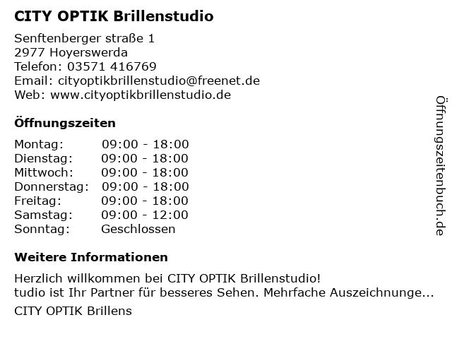City Optik Brillenstudio in Hoyerswerda: Adresse und Öffnungszeiten