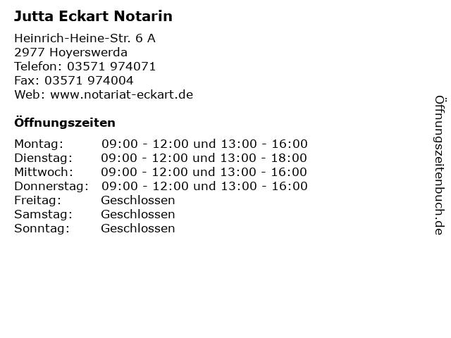 Jutta Eckart Notarin in Hoyerswerda: Adresse und Öffnungszeiten