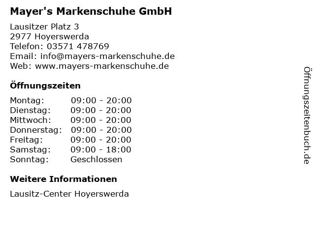 Mayer's Markenschuhe GmbH in Hoyerswerda: Adresse und Öffnungszeiten