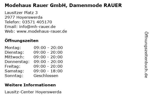 Modehaus Rauer GmbH, Damenmode RAUER in Hoyerswerda: Adresse und Öffnungszeiten