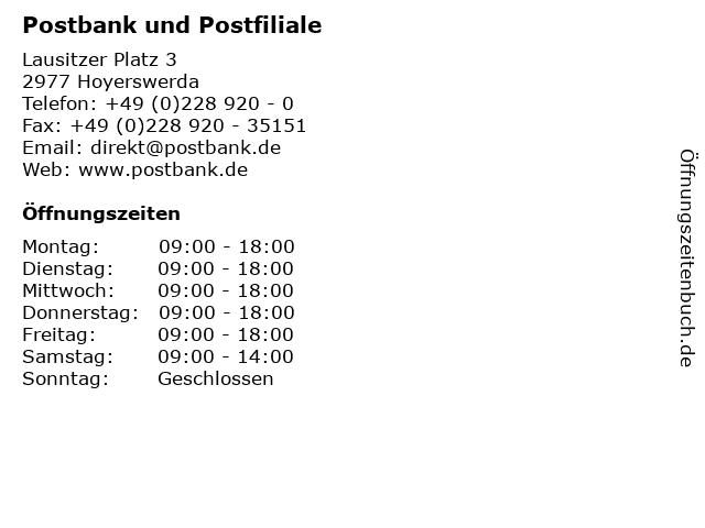 Postbank und Postfiliale in Hoyerswerda: Adresse und Öffnungszeiten