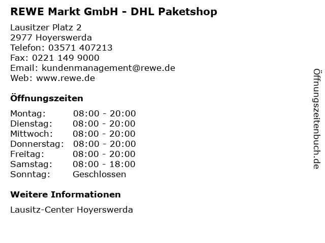 REWE Markt GmbH - DHL Paketshop in Hoyerswerda: Adresse und Öffnungszeiten