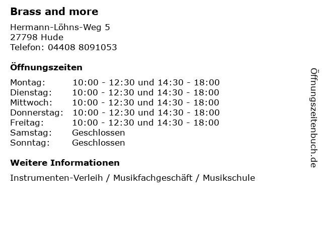 Brass and more in Hude: Adresse und Öffnungszeiten