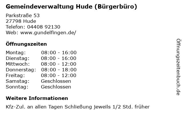 Gemeindeverwaltung Hude (Bürgerbüro) in Hude: Adresse und Öffnungszeiten