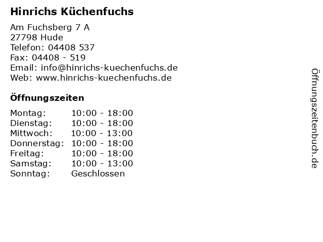 ᐅ Offnungszeiten Hinrichs Kuchenfuchs Am Fuchsberg 7 A In Hude
