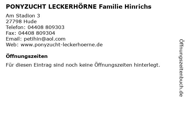 ᐅ Offnungszeiten Ponyzucht Leckerhorne Familie Hinrichs Am