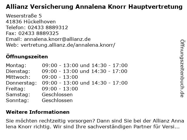 Allianz Vertretung Annalena Knorr in Hückelhoven: Adresse und Öffnungszeiten