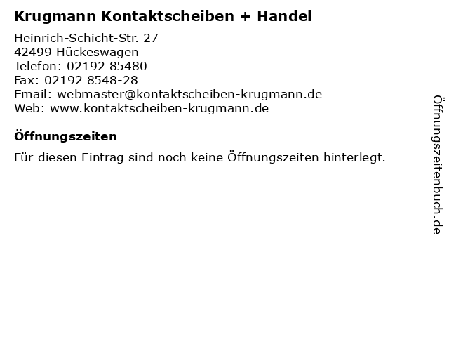 Krugmann Kontaktscheiben + Handel in Hückeswagen: Adresse und Öffnungszeiten