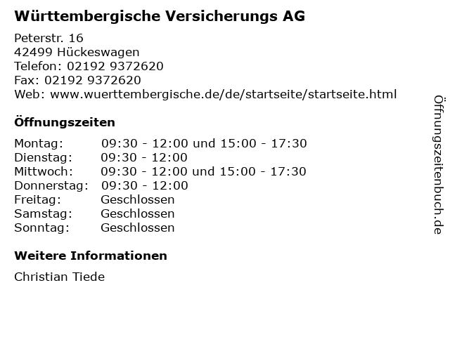 Württembergische Versicherungs AG in Hückeswagen: Adresse und Öffnungszeiten