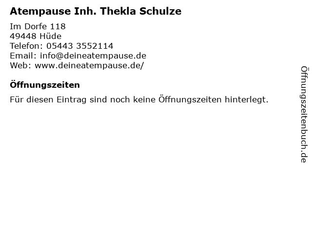 Atempause Inh. Thekla Schulze in Hüde: Adresse und Öffnungszeiten