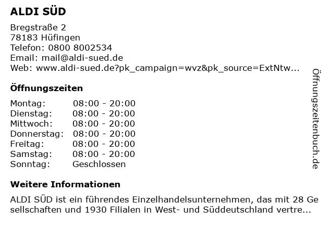 ALDI SÜD in Hüfingen: Adresse und Öffnungszeiten