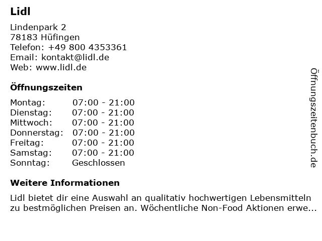 Lidl in Hüfingen: Adresse und Öffnungszeiten