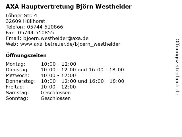 AXA Hauptvertretung Björn Westheider in Hüllhorst: Adresse und Öffnungszeiten