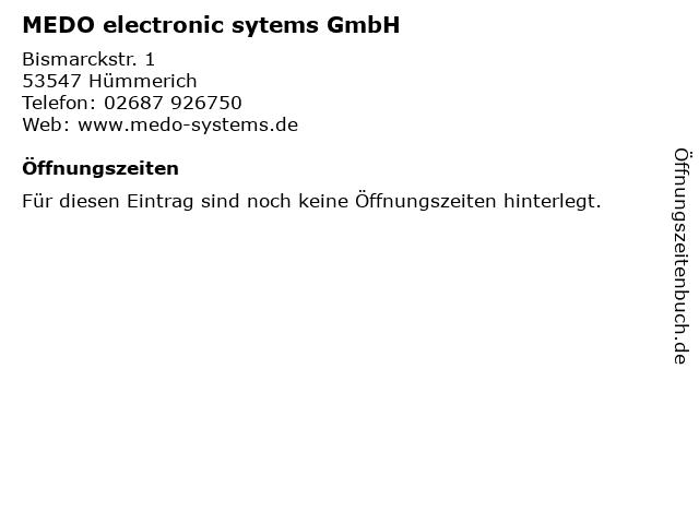 MEDO electronic sytems GmbH in Hümmerich: Adresse und Öffnungszeiten